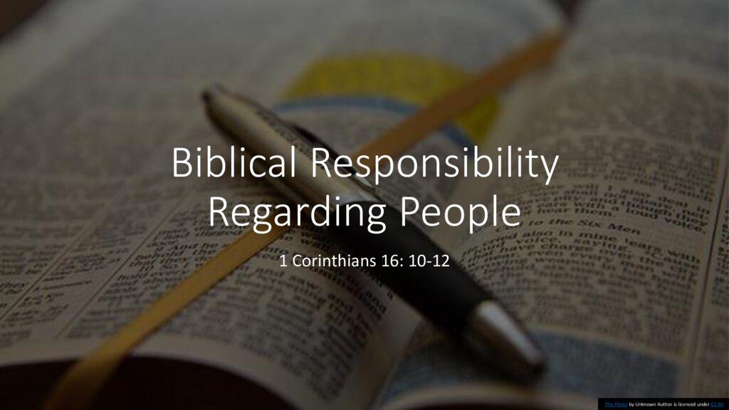 Biblical Responsibility Regarding People