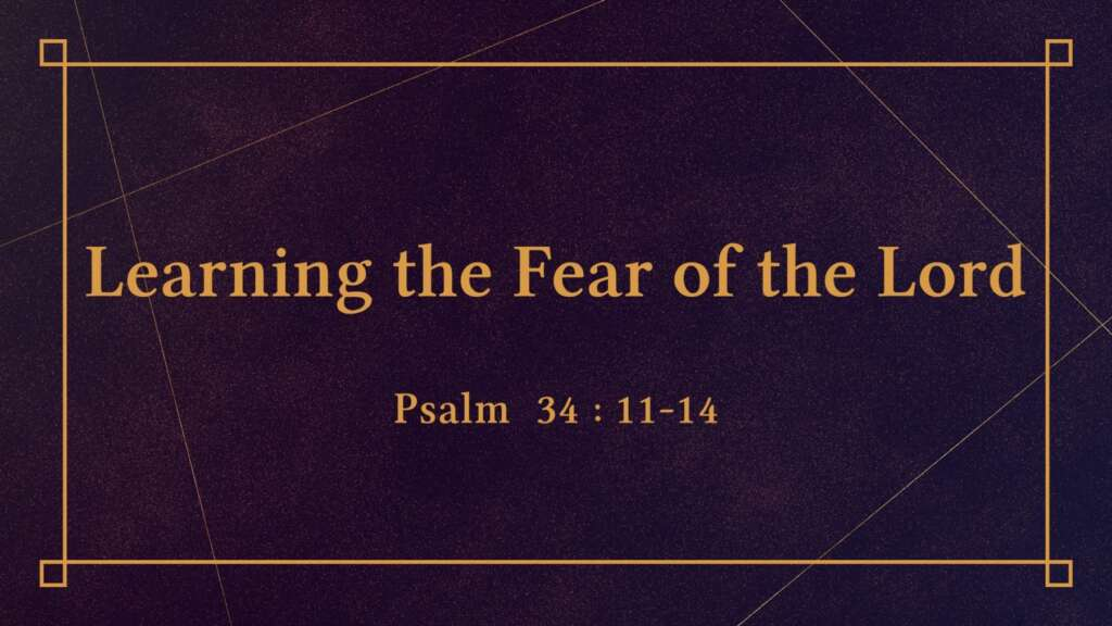 Learning the Fear of the Lord